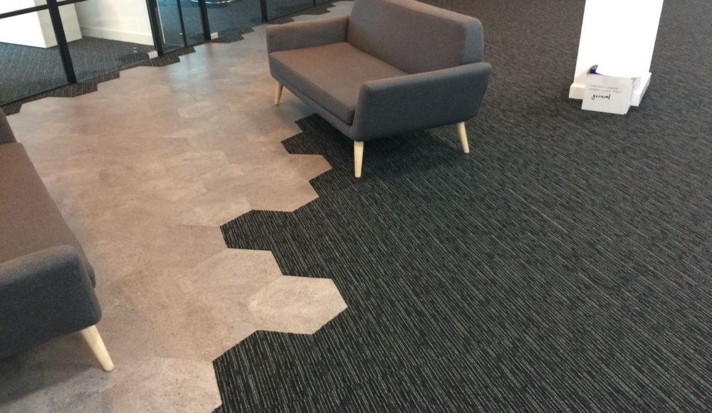 Contract flooring interface carpet tiles, Karndean and Tarkett vinyl for blustone offices