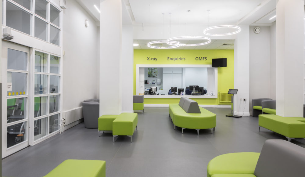 Contract flooring Grey Altro Orchestra vinyl safety flooring for Charles Clifford Dental Hospital waiting area