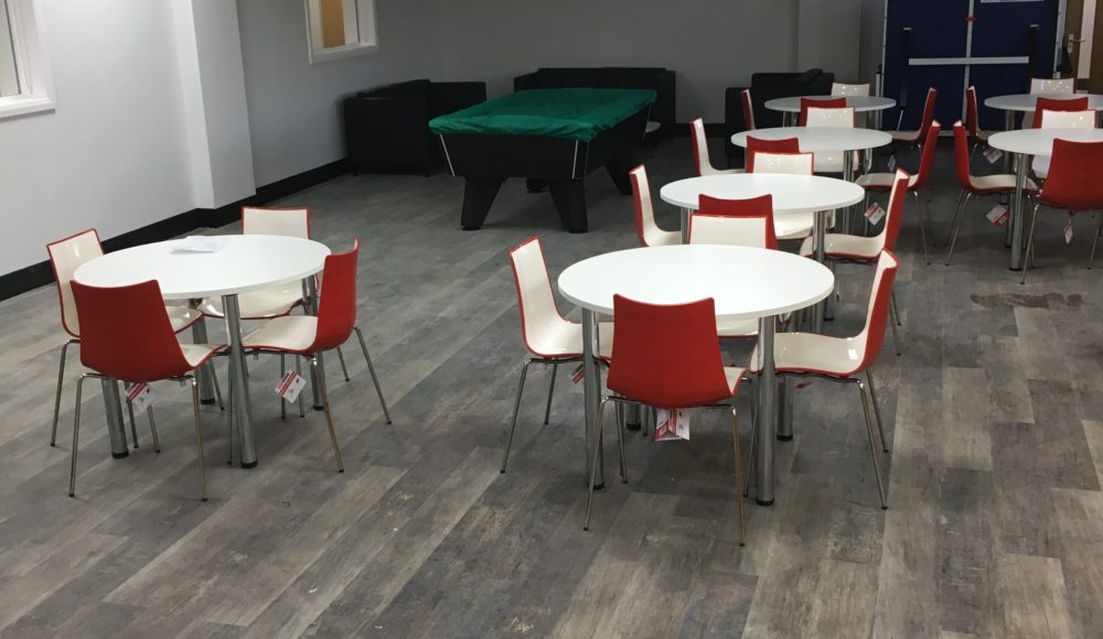 Grey Karndean Vinyl planks for staff canteen