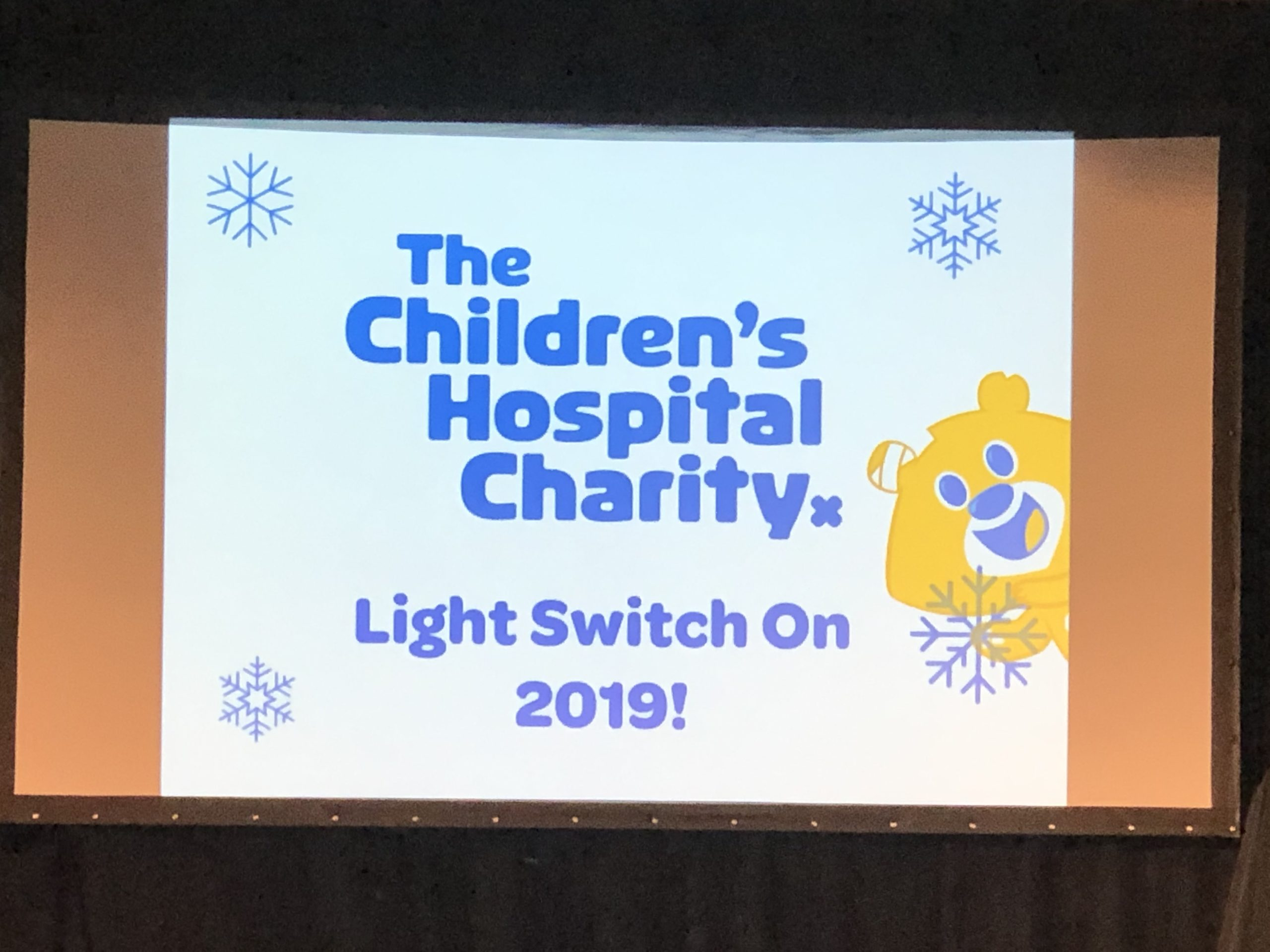 Childrens Hospital Charity light switch on 2019 presentation