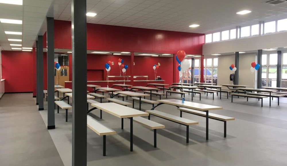 Grey Polyflor Polysafe vinyl fitted in school canteen